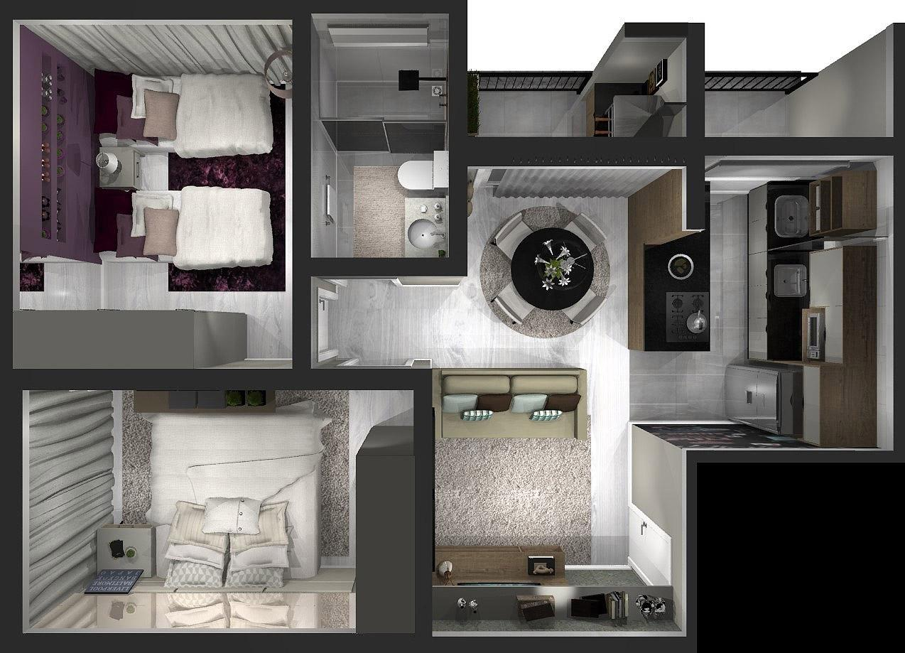 52,00 m² - 2 quartos